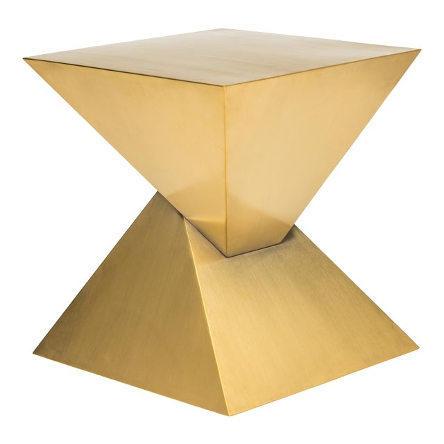 Giza Steel Side Table In Gold For Sale