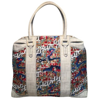 Fendi White Canvas and Multicolor Sequin Tote Bag For Sale