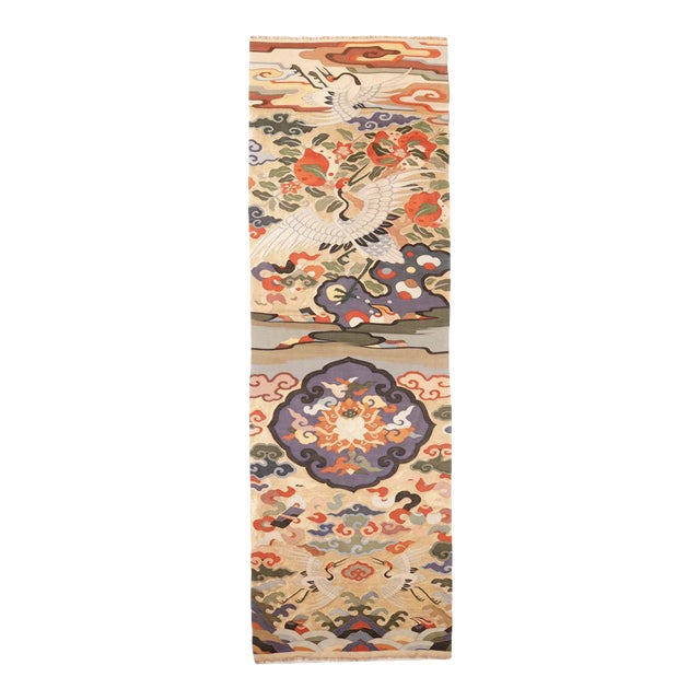 Antique Chinese Kesi Silk Tapestry Weave Chair Cover Panel Fabric For Sale