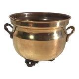 Image of Vintage Brass Handled Planter For Sale