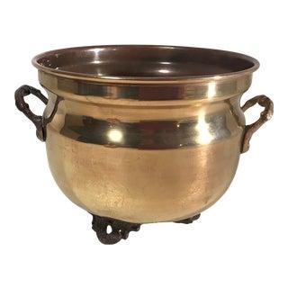 Vintage Brass Handled Planter For Sale