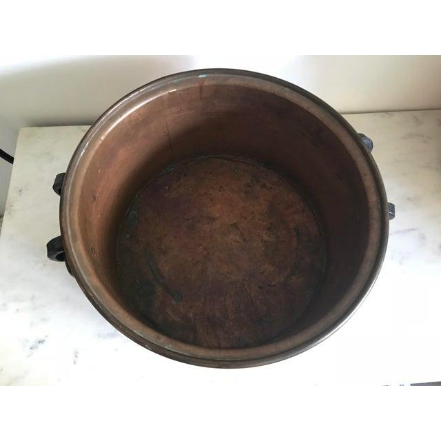 Vintage Mid Century Handmade Turkish Copper Cauldron For Sale - Image 4 of 6