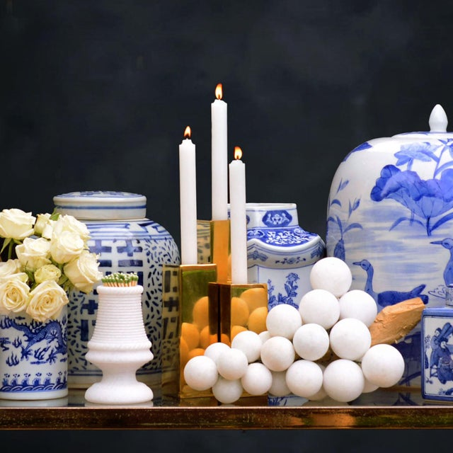 "2010s Jardins en Fleur ""Cityscape"" Brass Menorah Candlestick Holders , Set of 9 For Sale - Image 5 of 6"