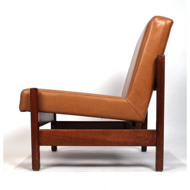 Joaquim Tenreiro Style Peroba Lounge Chairs in Leather for Knoll & Forma Brazil - A Pair For Sale In Dallas - Image 6 of 10