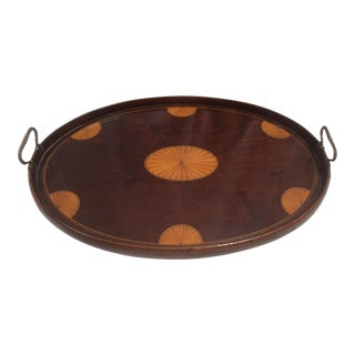Federal Shaded Fan Inlay Wood Serving Tray