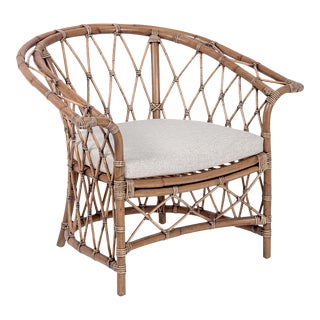 Boho Club Chair, Camel, Rattan For Sale