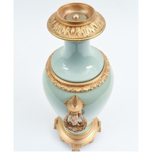 Late 19th Century Bronze Mounted Porcelain Decorative Urn For Sale - Image 5 of 11