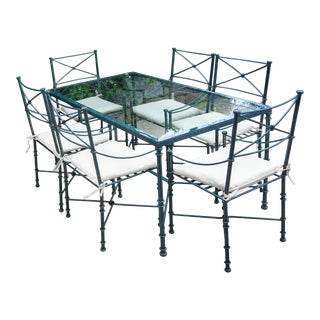 1980s Mario Papperzini for Salterini Style French Neoclassical Verdigris Wrought Iron Outdoor Dining Set For Sale