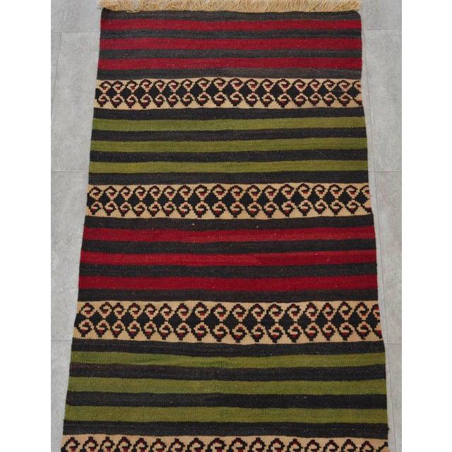 "Anatolian Wool Kilim Long Runner Rug - 2'7"" X 12'3"" - Image 6 of 9"