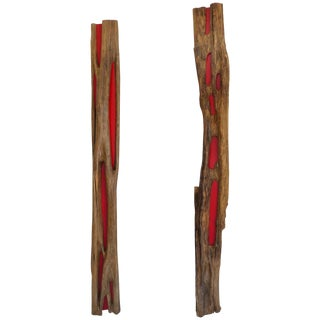 Pair of Reclaimed Wood Log Sculptures by Valeria Totti For Sale