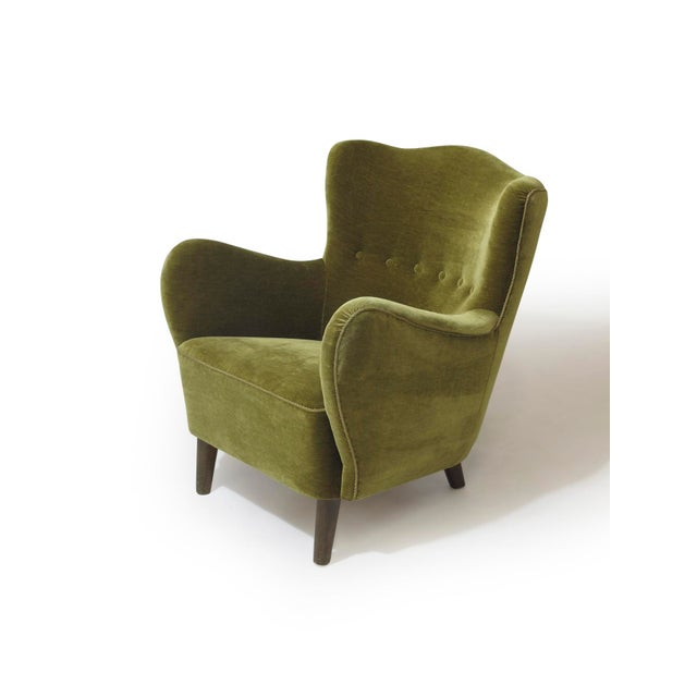 Scandinavian Mohair Lounge Chair For Sale - Image 4 of 11