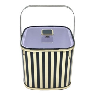 Vintage 1970's Culver Black and Gold Stripe Ice Bucket For Sale