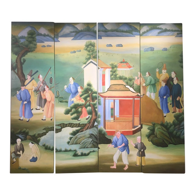 Chinoiserie Mural Painting on Panels For Sale