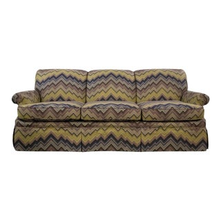 Schumacher Cambridge Sofa With Chevron Print For Sale