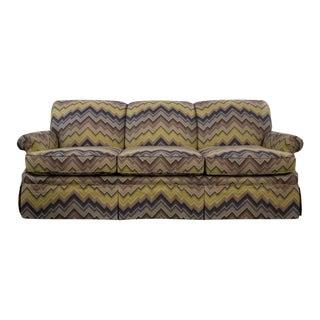 Schumacher Cambridge Sofa With Chevron Print For Sale