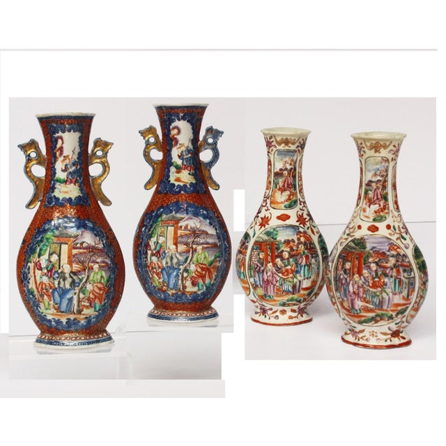 On left: Pair of early 18th century mandarin pallet Chinese vases decorated with various scenes and gilt handles (on...