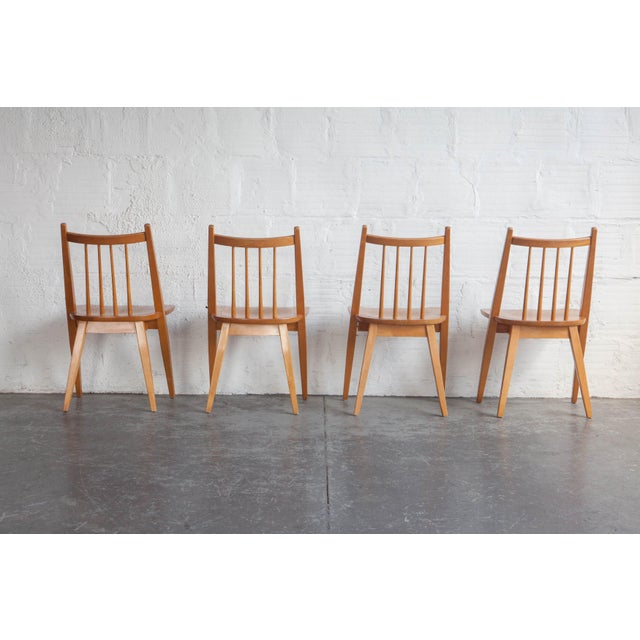 Wood 1970s Mid-Century Modern Maple Dining Chairs - Set of 4 For Sale - Image 7 of 8