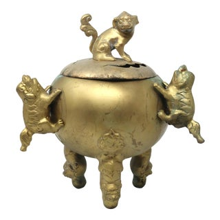 Vintage Large and Heavy Brass Foo Dog Koro or Incense Pot For Sale