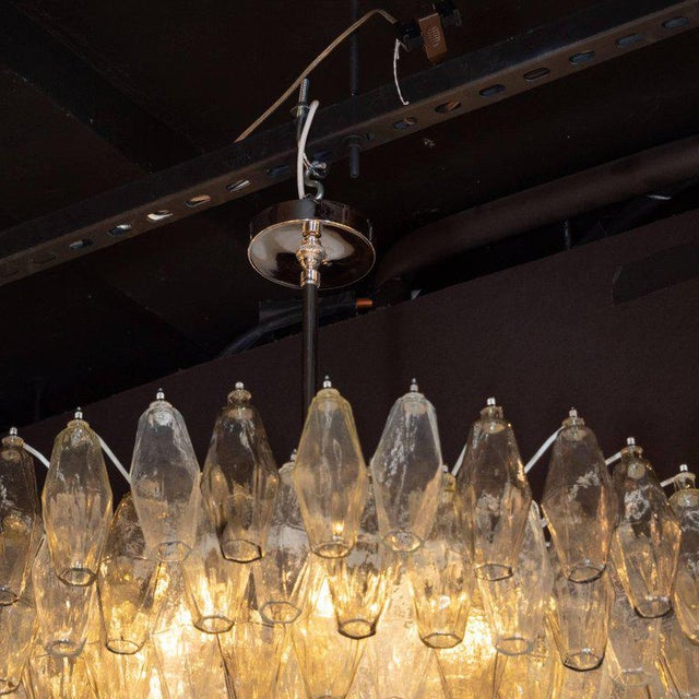 Early 21st Century Modernist Polyhedral Chandelier in Topaz, Citrine & Clear Handblown Murano Glass For Sale - Image 5 of 9