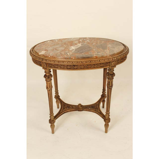 1930s Louis XVI Carved Marble Top Table For Sale - Image 4 of 13