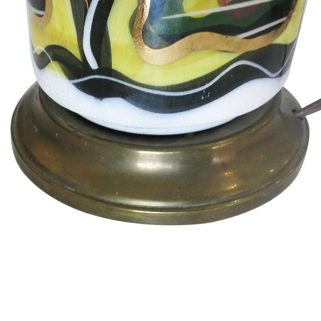 1950s Hand-Painted Modernist California Pottery Table Lamp by Sascha Brastoff For Sale - Image 5 of 6
