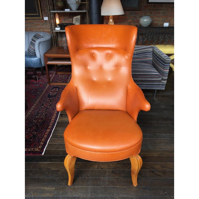 Danish Modern 1940s Leather Wingback Armchair Attributed to Frits Henningsen For Sale - Image 3 of 12