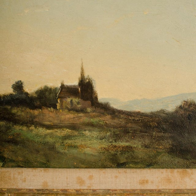"""Early 20th Century """"Lonely Church"""" Landscape Oil Painting, Framed For Sale - Image 4 of 10"""