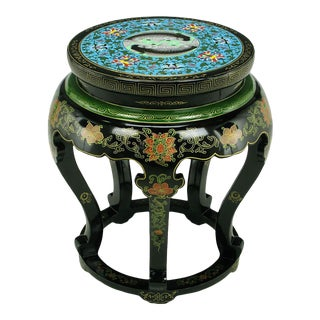 Polychrome Cloisonné and Black Lacquered Side Table For Sale