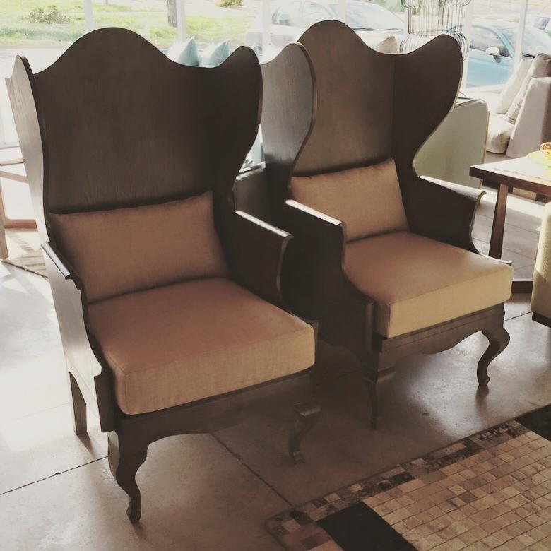 Wood Wingback Chair For Sale   Image 5 Of 6