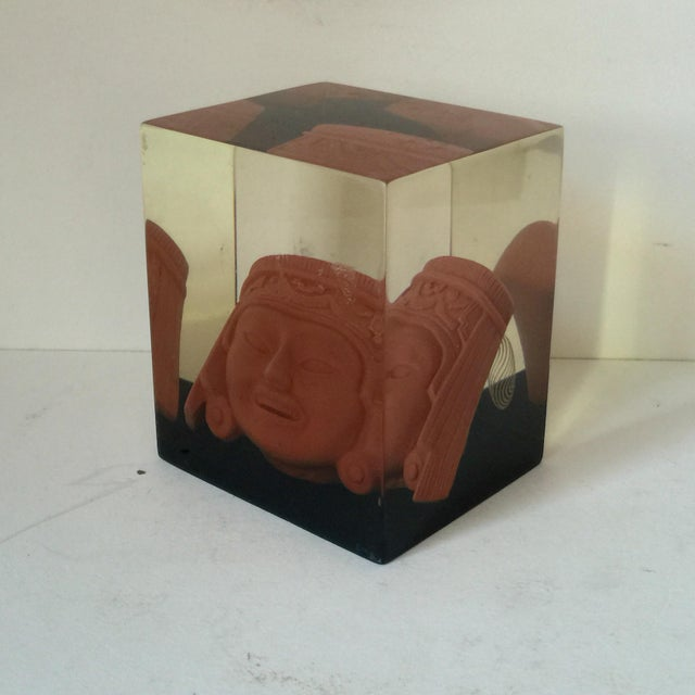 Lucite Paperweight with Aztec Mask - Image 3 of 8
