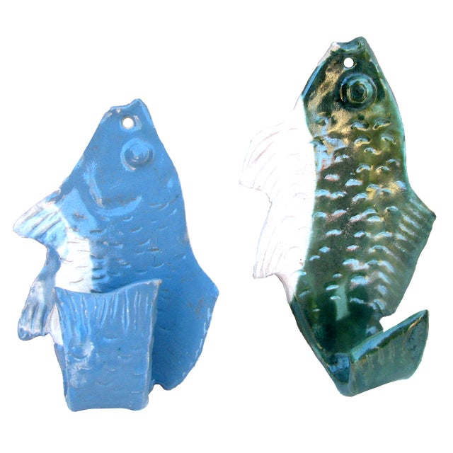 Artist Signed Pottery Fish Wall Hooks, Pair For Sale In Tulsa - Image 6 of 6