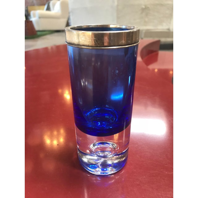 Little Precious Blu Glass With Chrome. Italy , 1950s