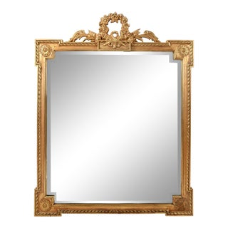 Early 20th Century Giltwood Hanging Beveled Mirror For Sale