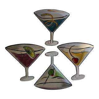 Early 21st Century Hand-Painted Cocktail Hour Martini Glass Shaped Dip Bowl Set- 4 Pieces For Sale