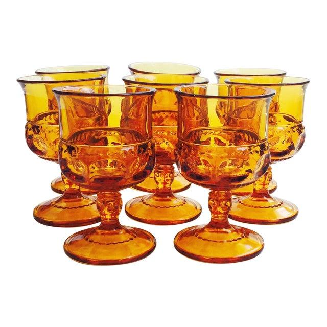 Vintage Amber Pressed Glass Goblets - Set of 8 For Sale