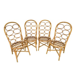 Vintage Bamboo Rattan Chairs - Set of 4 For Sale