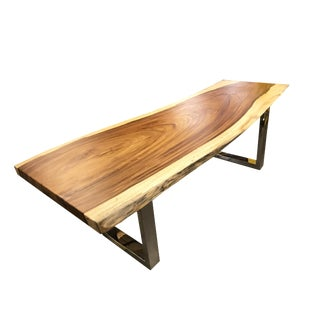Live Edge Solid Slab Acacia Wood Dining Table