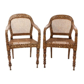Anglo Indian Open Arm Chairs - a Pair For Sale