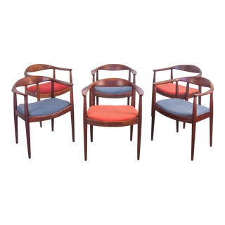 Set of 6 Wegner Style Dining Armchairs for Edward Axel Roffman