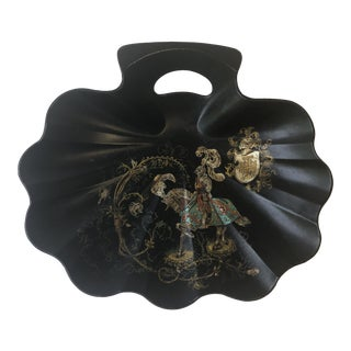 1940s Traditional Black Paper Mache Lacquered Knight & Shield Tray For Sale