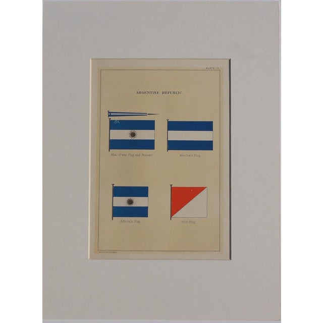 """Original chromolithograph from """"Flags of the Maritime Nations"""" published by the Bureau of Navigation, Washington, DC,..."""