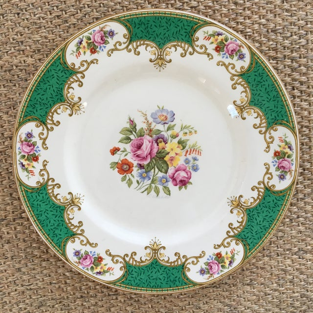 "This is a lovely set of 6 antique 10.5"" plates made by Myott Royal Crown Staffordshire, England. There are six floral..."