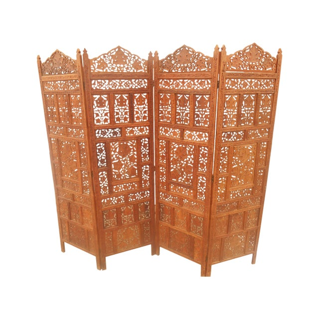Solid Teak Pierce Carved Room Divider For Sale