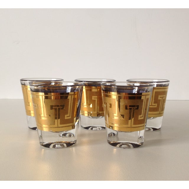 "Gilt ""Greek Key"" Shot Glasses - Set of 5 - Image 5 of 6"