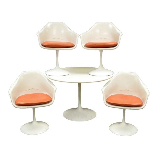 "Vintage Mid Century Modern Tulip Dining Set 42"" Table 4 Chairs Burke Saarinen - Image 1 of 11"