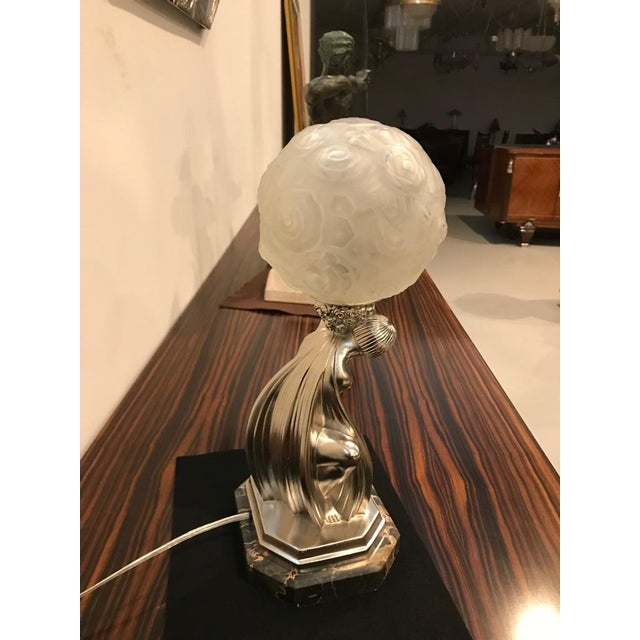 French Art Deco Bronze Female Table Lamp Signed by Sabino For Sale In New York - Image 6 of 11
