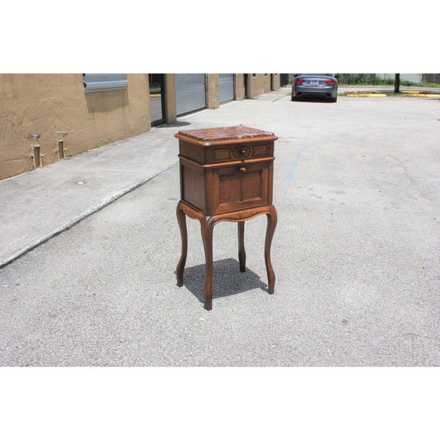 1900s French Louis XV Solid Walnut Nightstand For Sale - Image 4 of 13