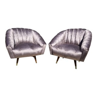 Mid Century Modern Channel Back Swivel Chairs Newly Upholstered - Pair For Sale