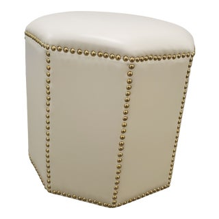 Modern Faux White Leather Ottoman For Sale