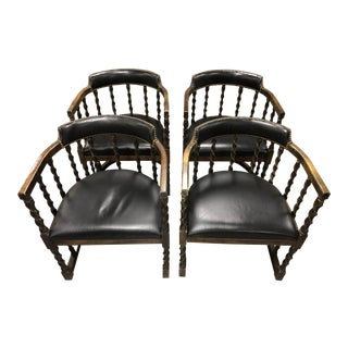 Set of 4 Trouvailles Barley Twist Leather Pub Chairs For Sale